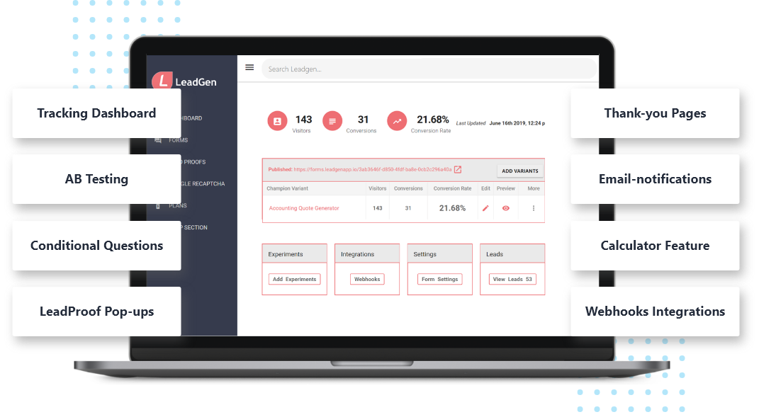 LeadGen dashboard with form analytics and metrics