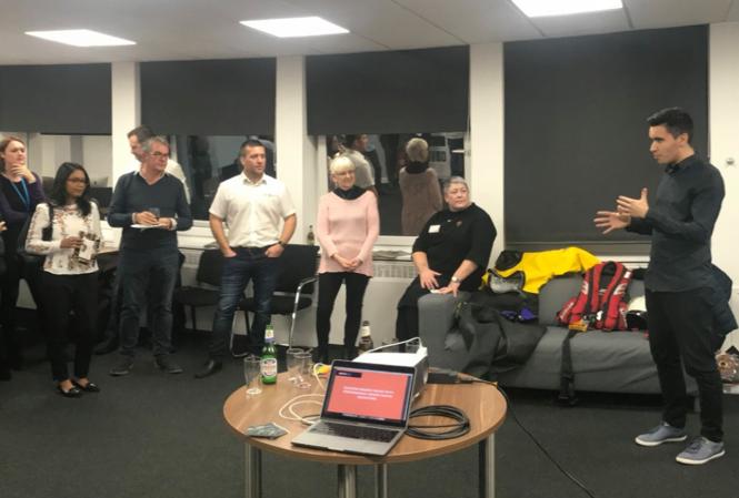 Co-Founder Chris giving a presentation