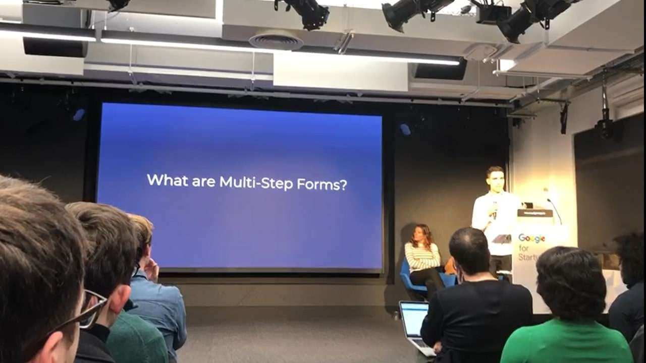 Multi step form presentation by Christopher Lier at Google Campus London