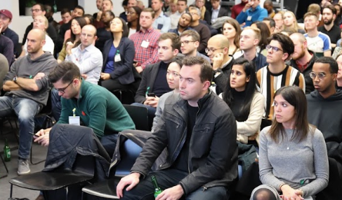 Techub demo night audience at Google Campus London
