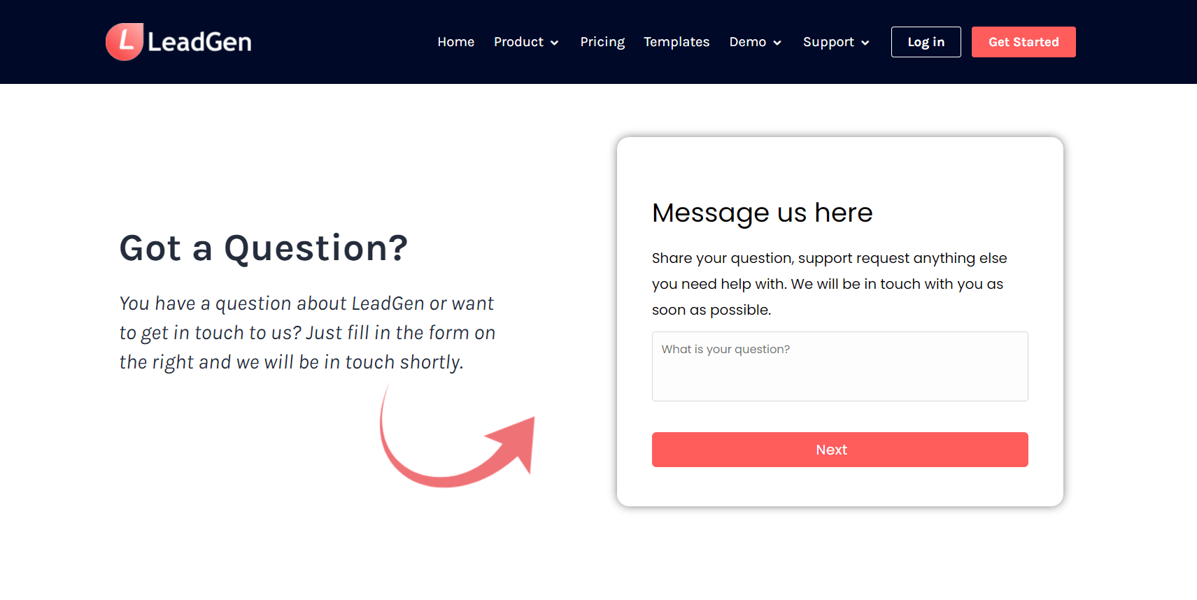 Contact form page design