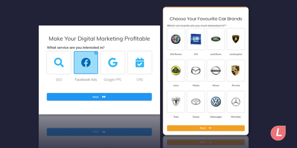 Multi-step form designs with icons of service selection buttons