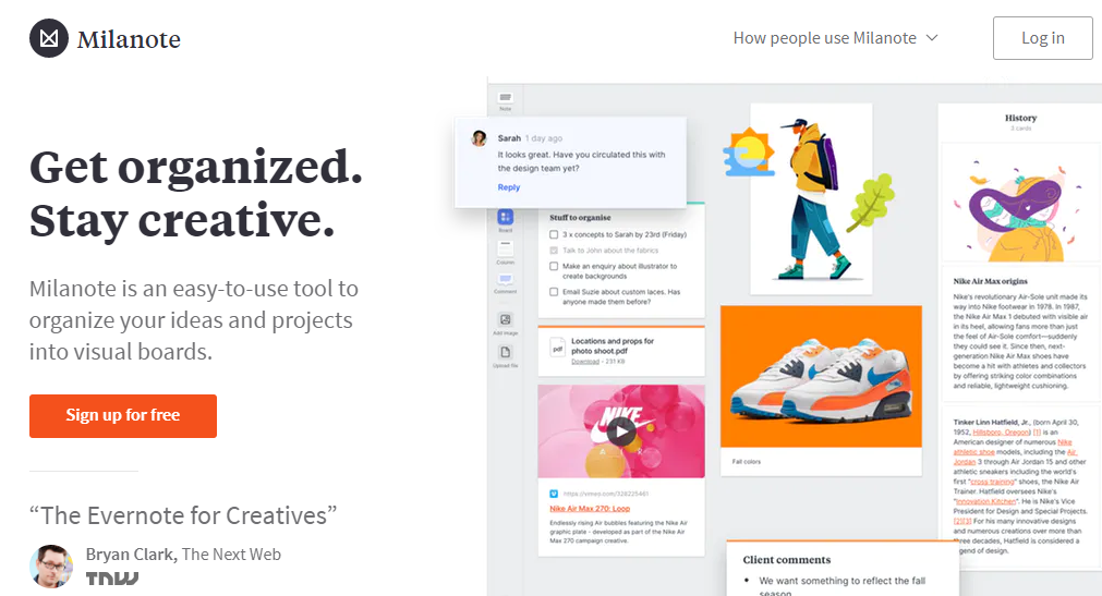Milanote homepage - Competitor to slack