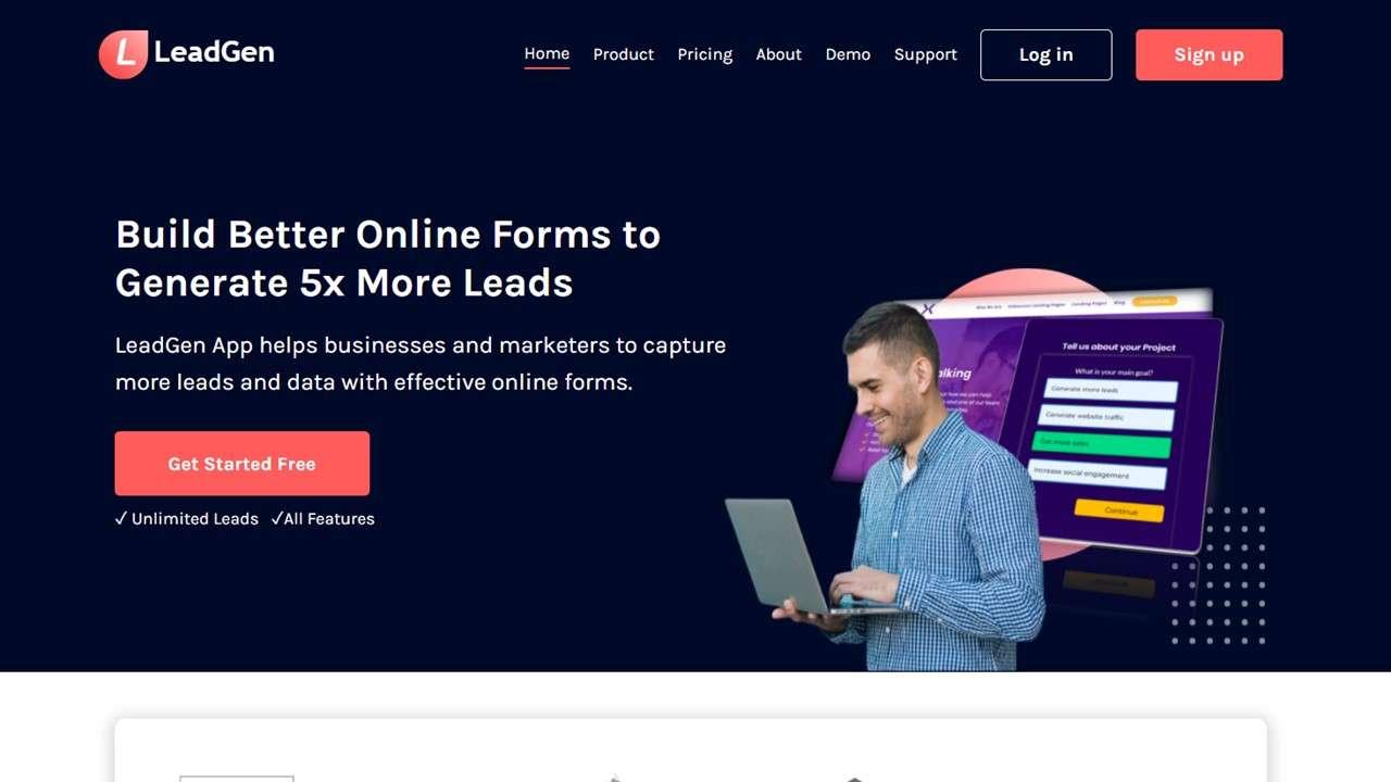 Homepage example of leadgenapp.io, a B2B lead capture website