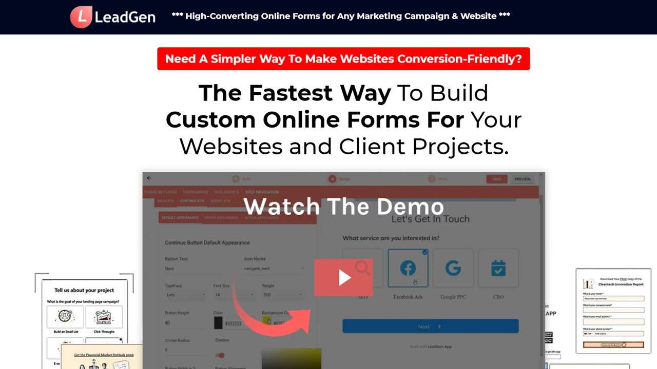 Custom-designed lead capture page example for highest conversion rates