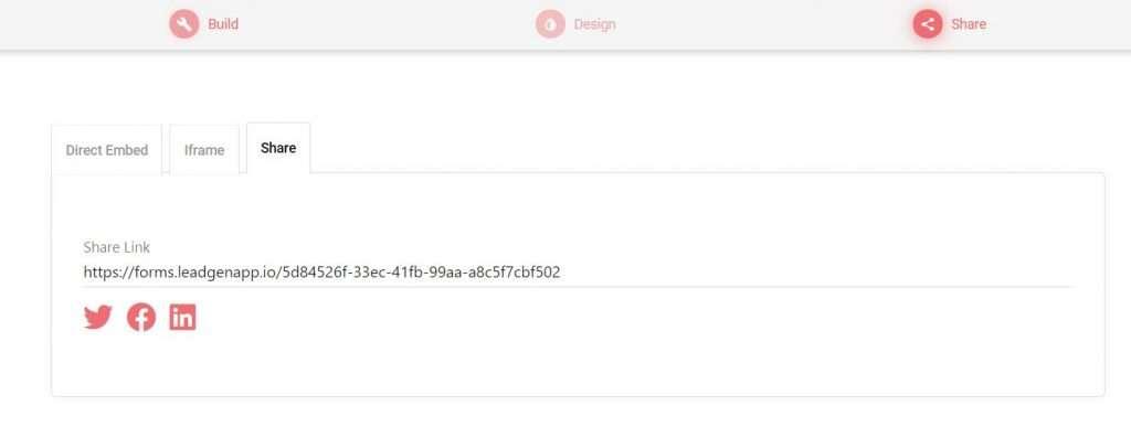 Link share in LeadGen App
