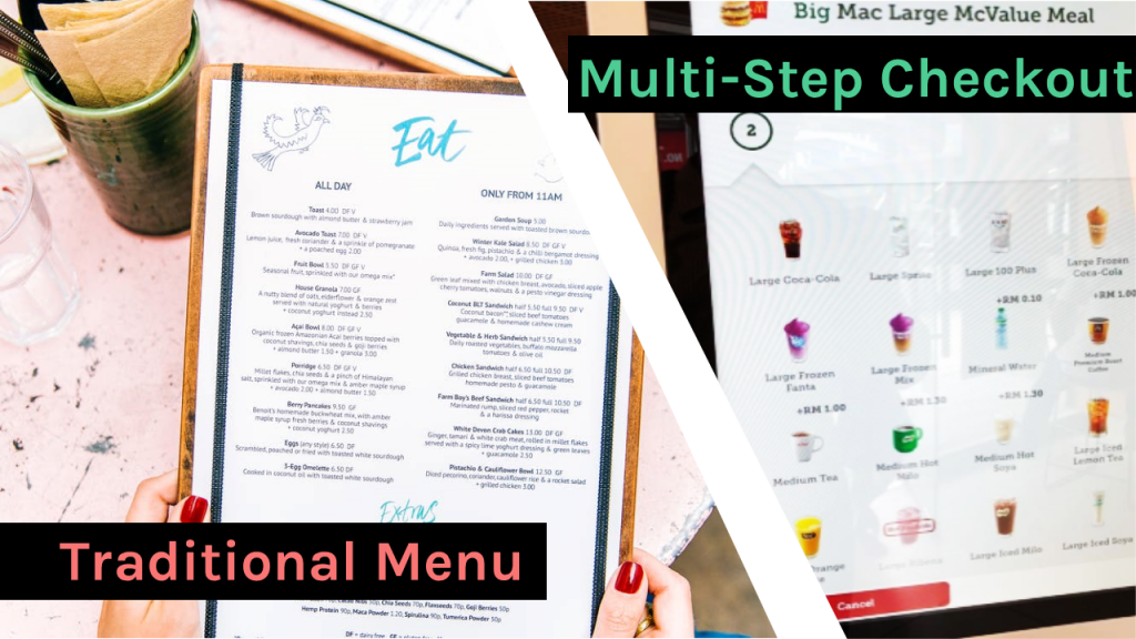 multi -step checkout vs. traditional menu