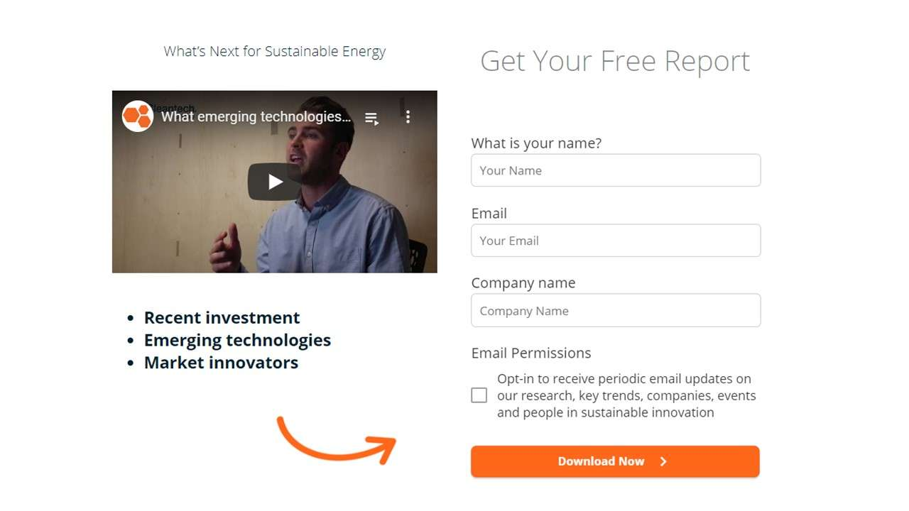 Lead form example of Cleantech group website