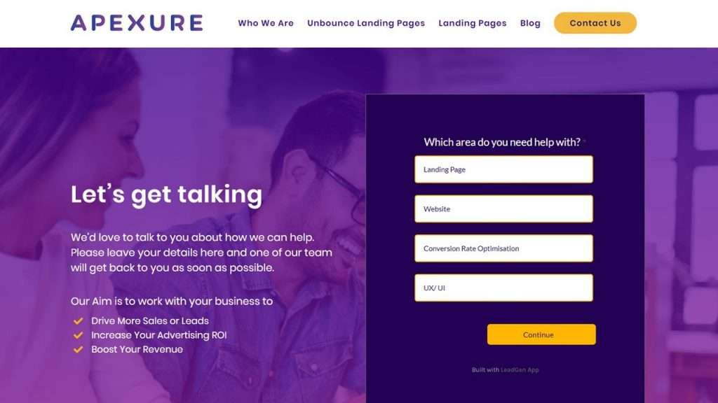 Apexure's contact us multiple step form