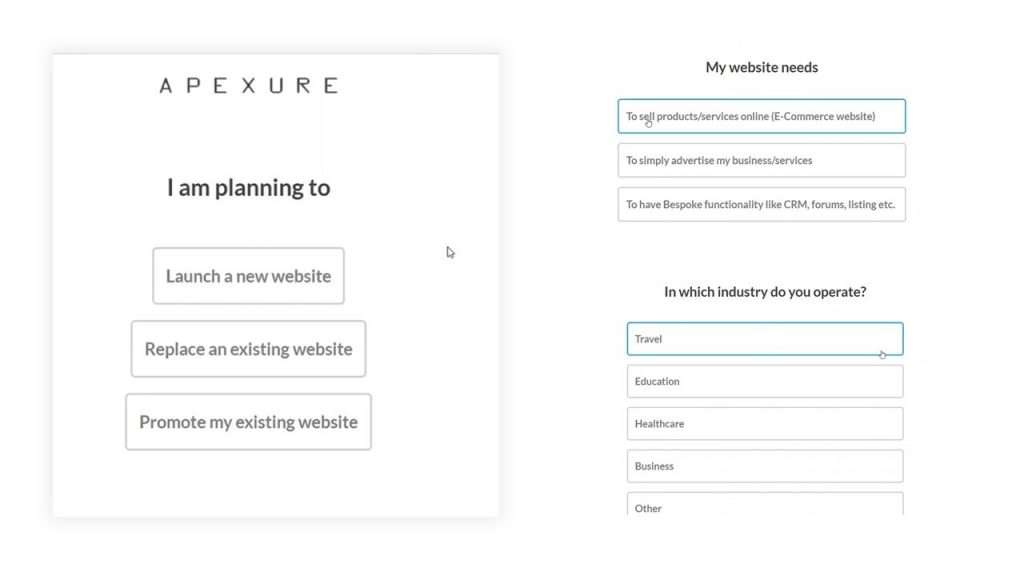 Apexure's multiple step form to generate leads