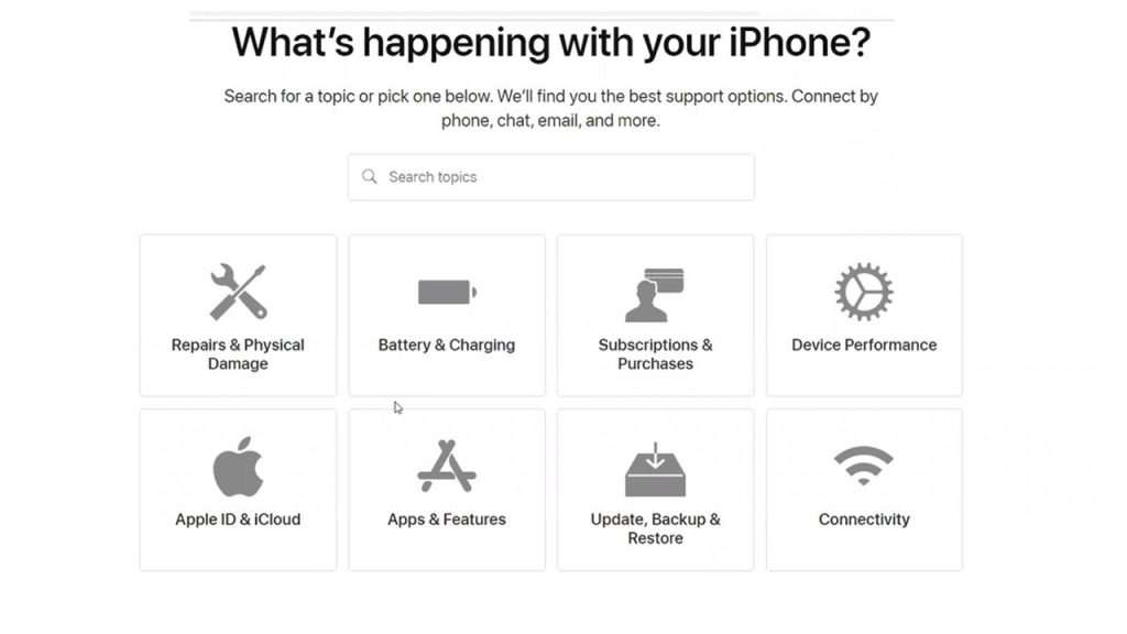 Apple's multi-step support form