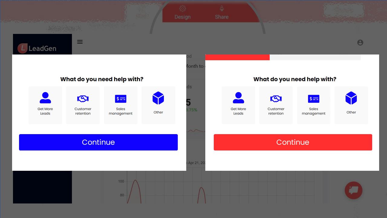 2 LeadGen form designs in A/B test