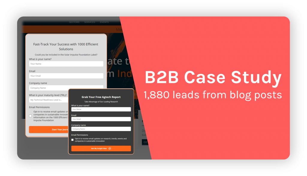 B2B case study - lead generation through lead magnets on blogs