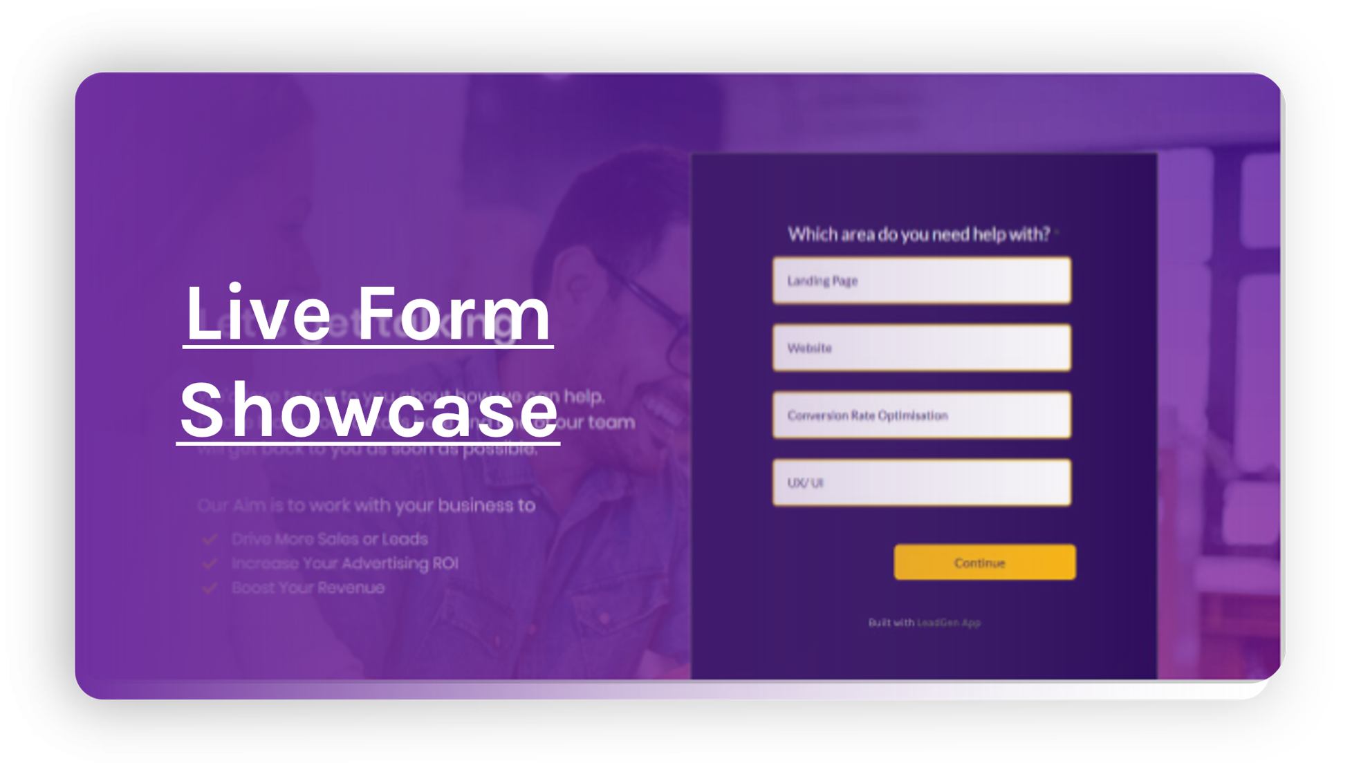 Live form showcase of Form examples for data capture and lead collection