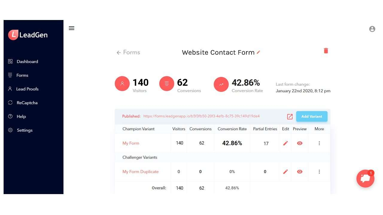 LeadGen App form overview page