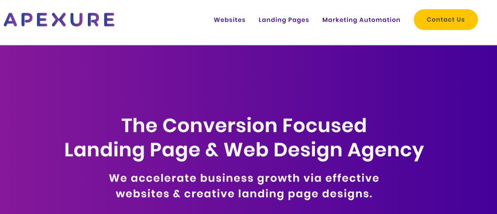 Apexure homepage with bright CTA button to contact page