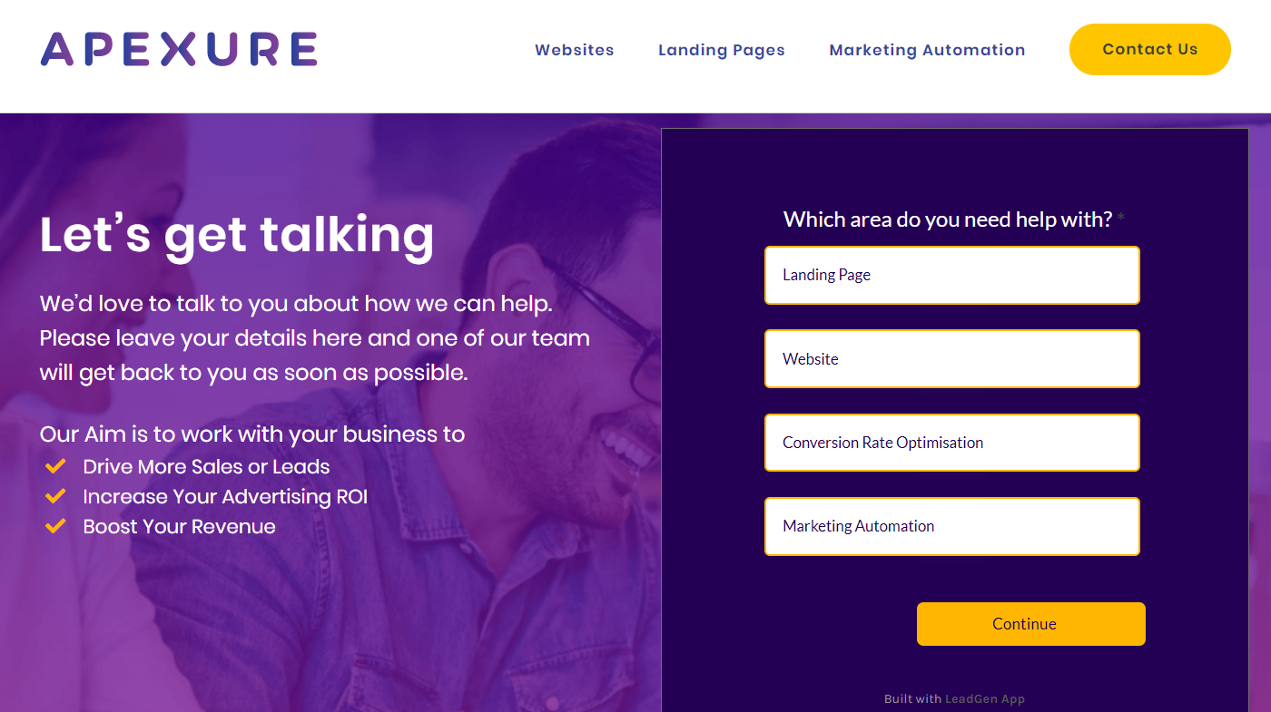 Contact page with B2B lead generation form