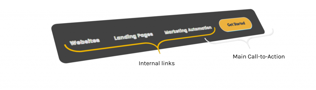 Increase conversion rate with reduced links in website menu header