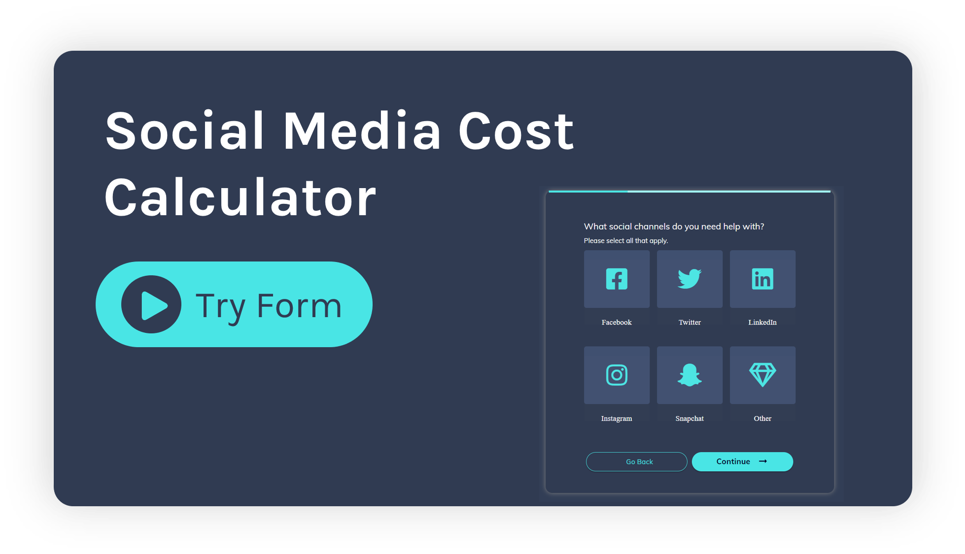 Social media marketing cost calculator form