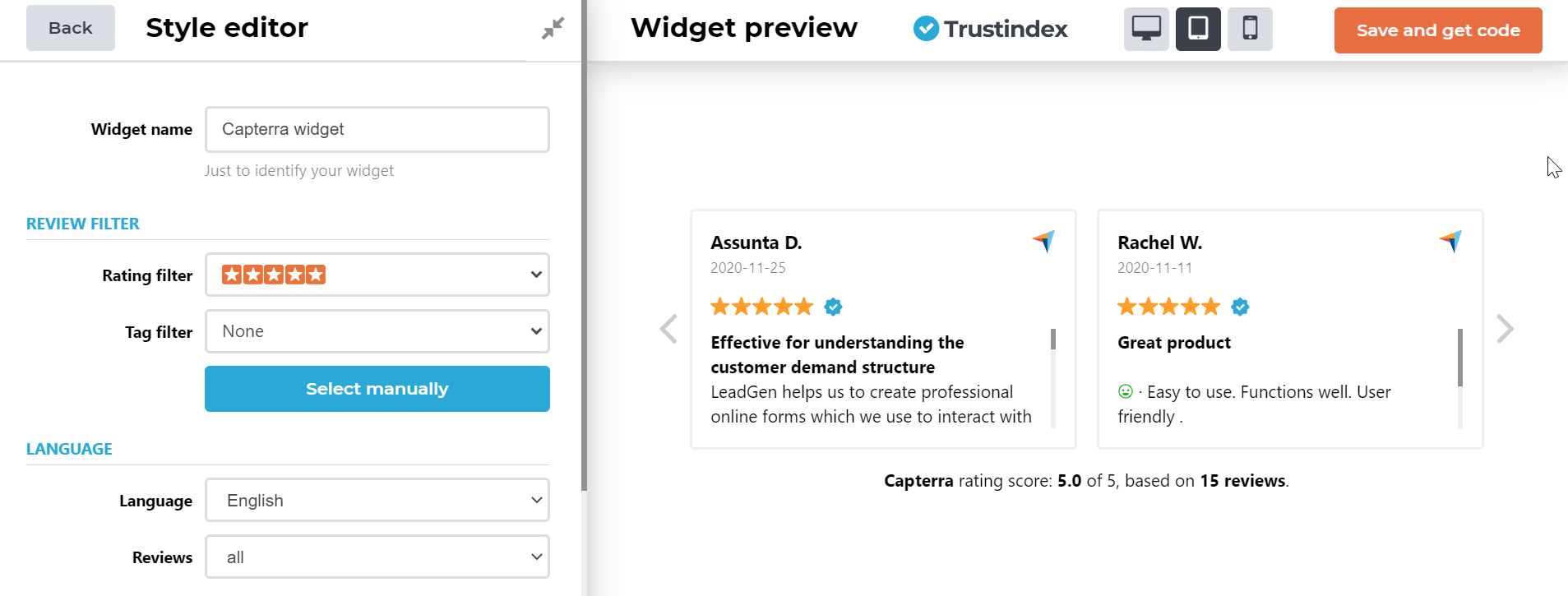 Trustindex set-up page to create review widgets of your software rating for websites