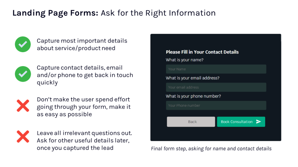 Ask for the right information in landing page forms