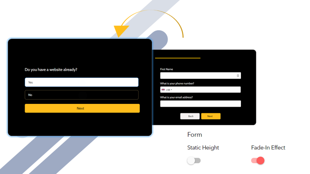 Landing page form with form steps
