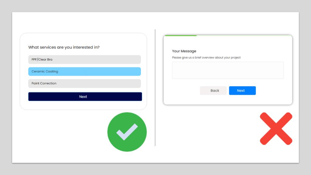 Minimum typing form comparison