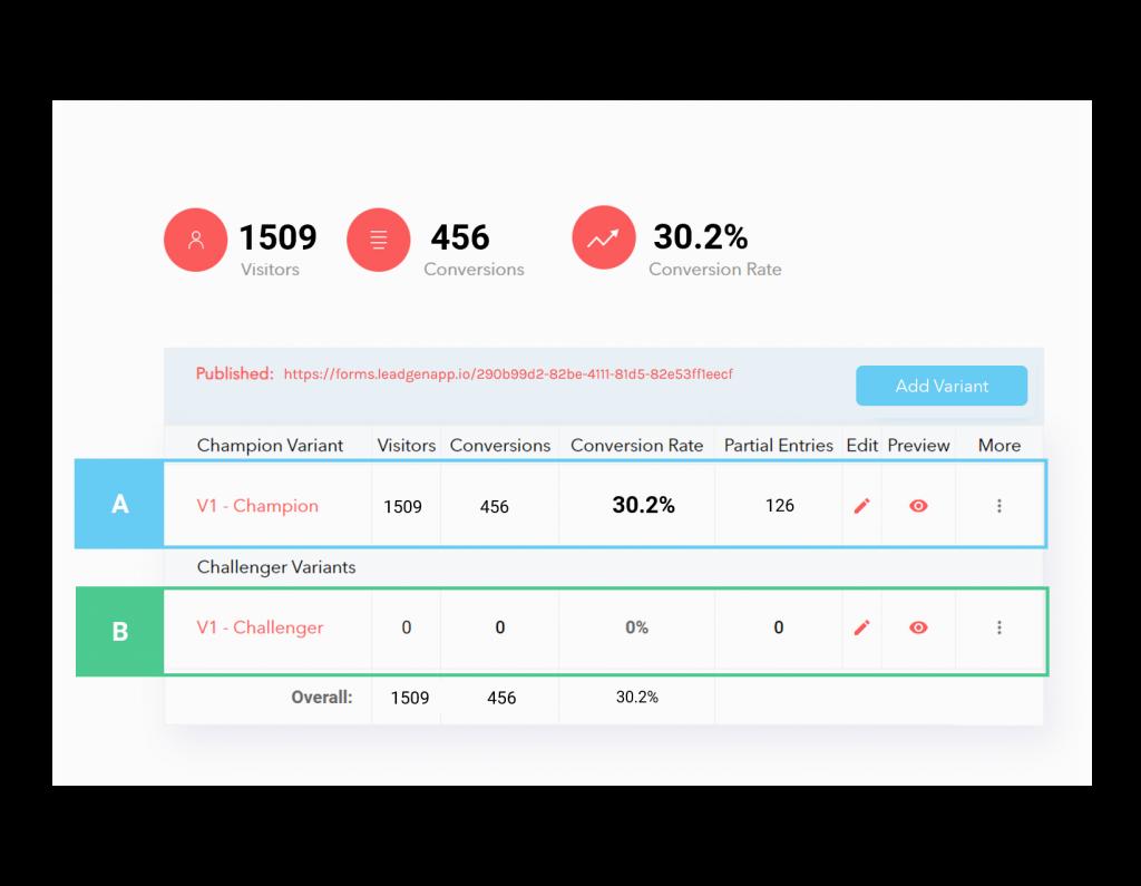 A/B testing in LeadGen App: Step 2, Create new variant