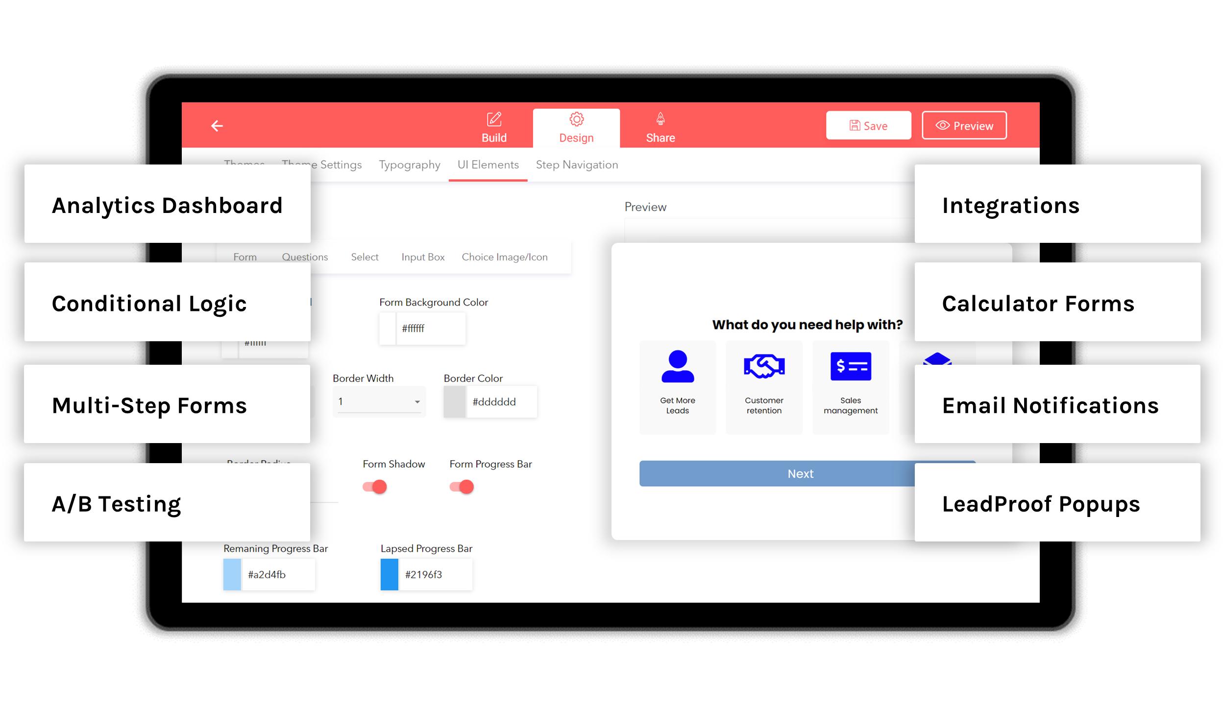 Form builder dashboard, showcasing LeadGen App features