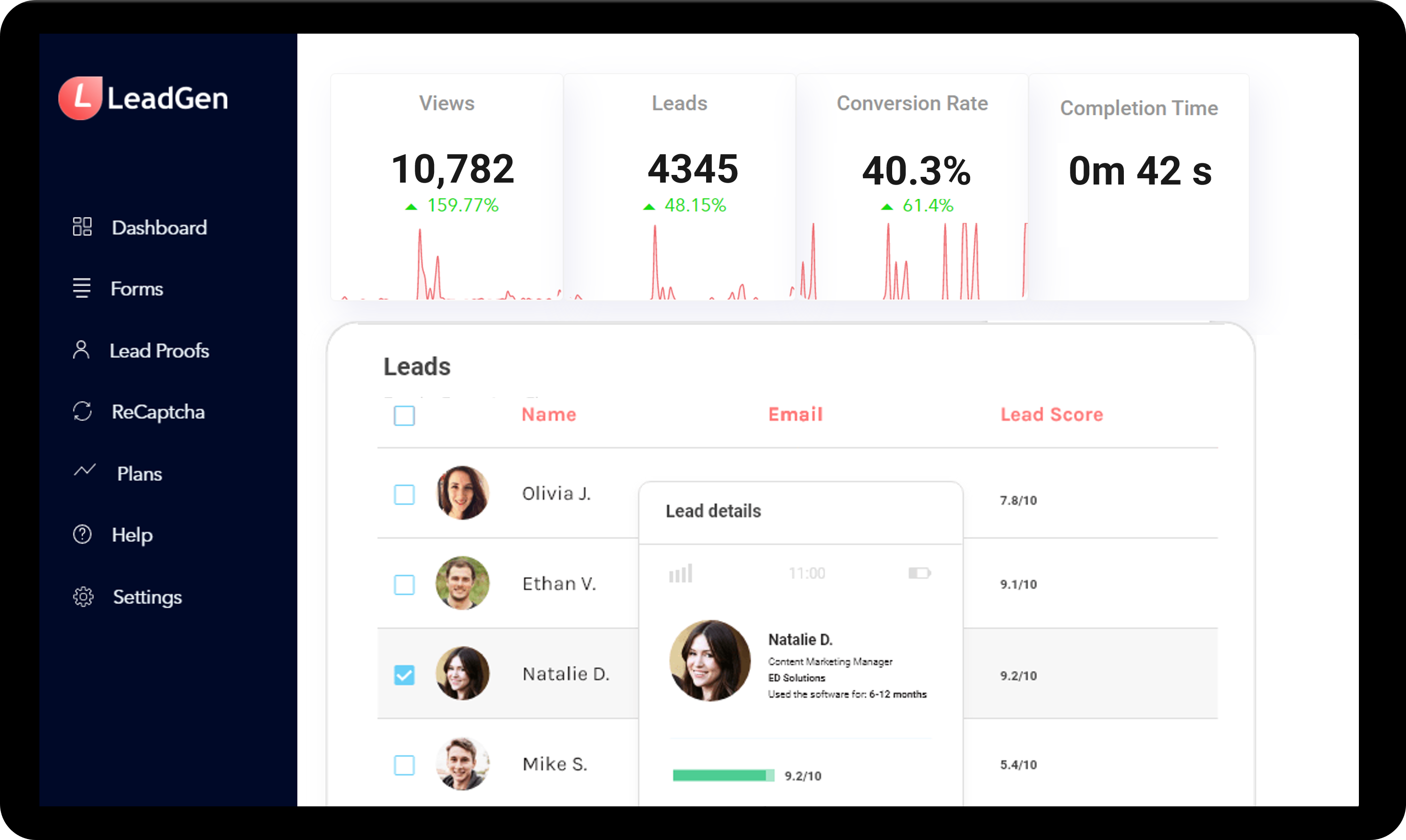 Online form-builder platform for lead generation