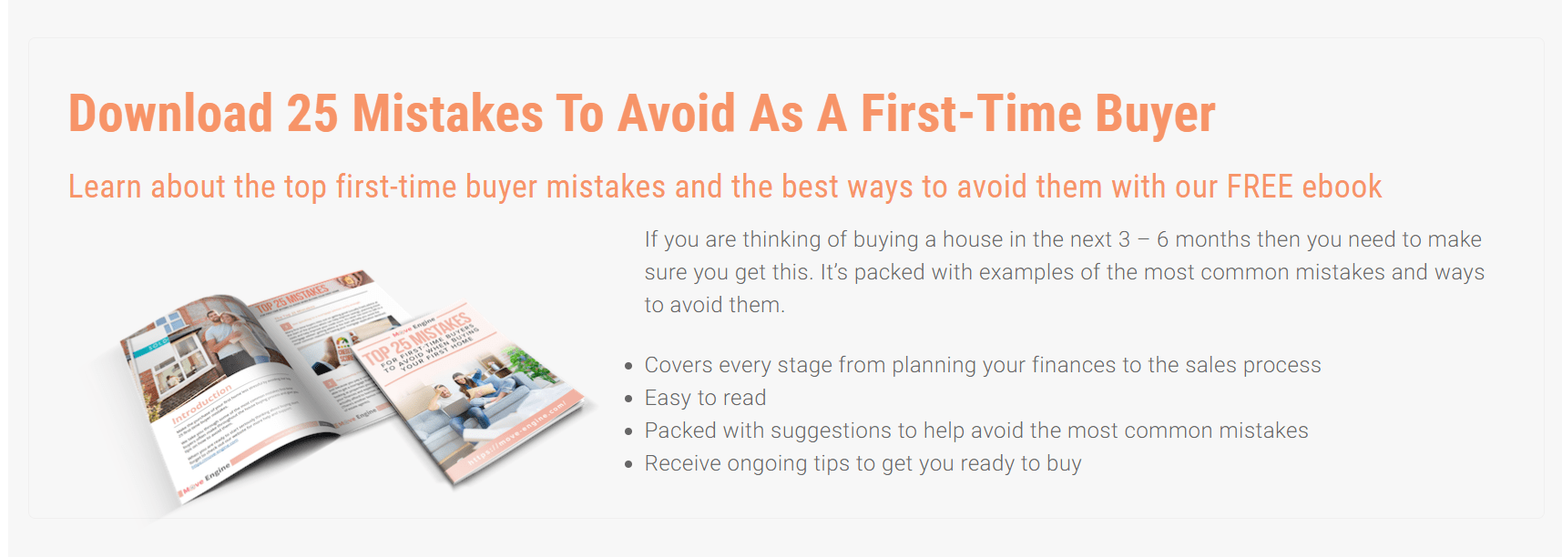 Ebook helping people understand mistakes to avoid in taking on a mortgage and buying their first house