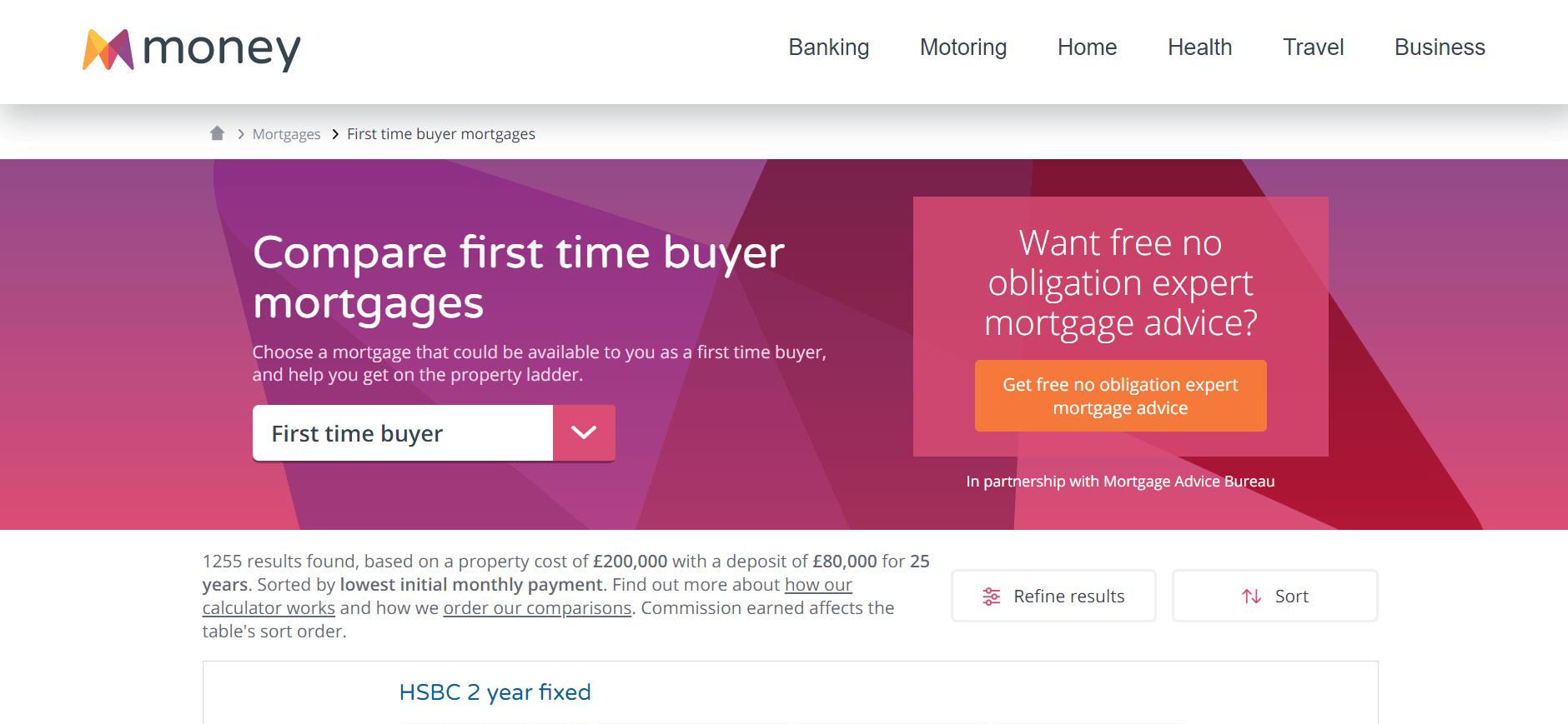 Money.co.uk landing page