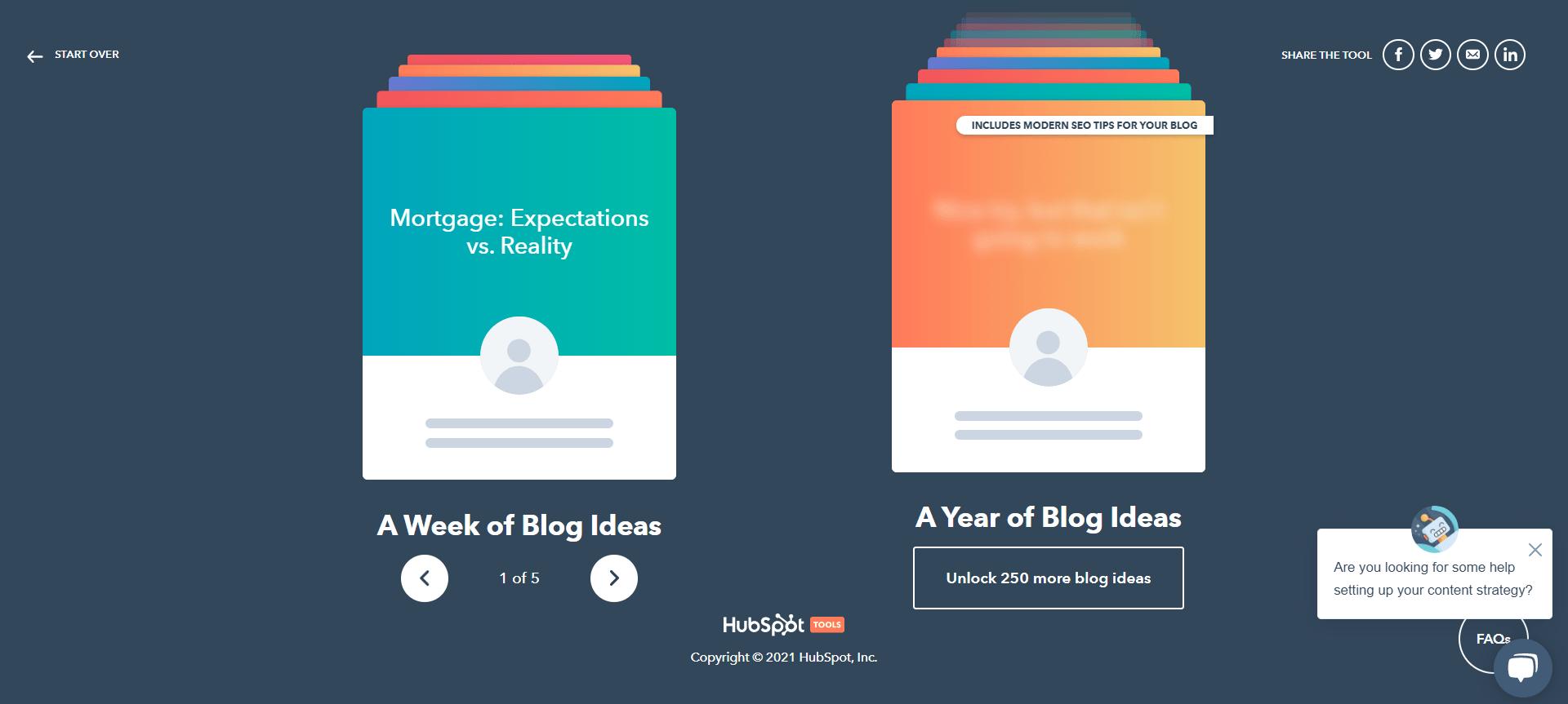 HubSpot content generator results