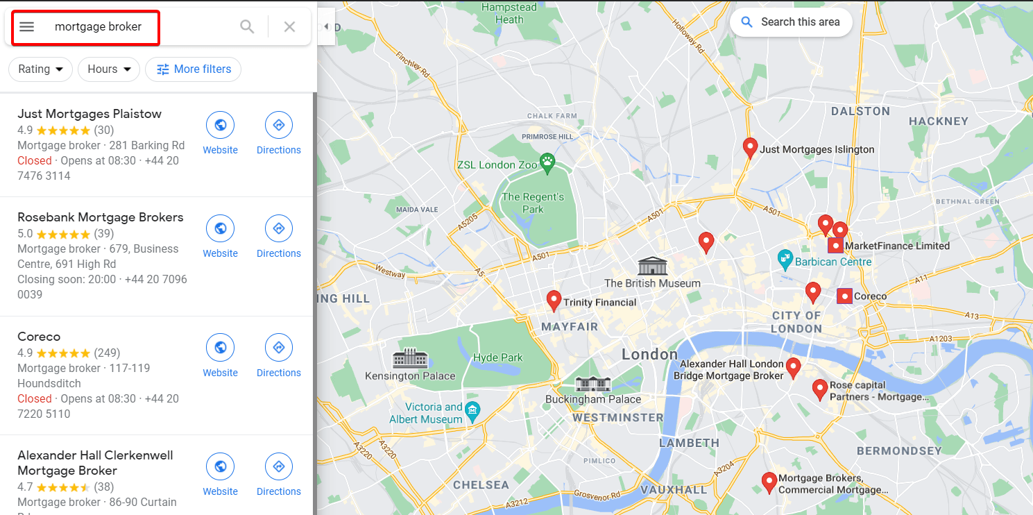 Local listings of mortgage brokers in Google Maps