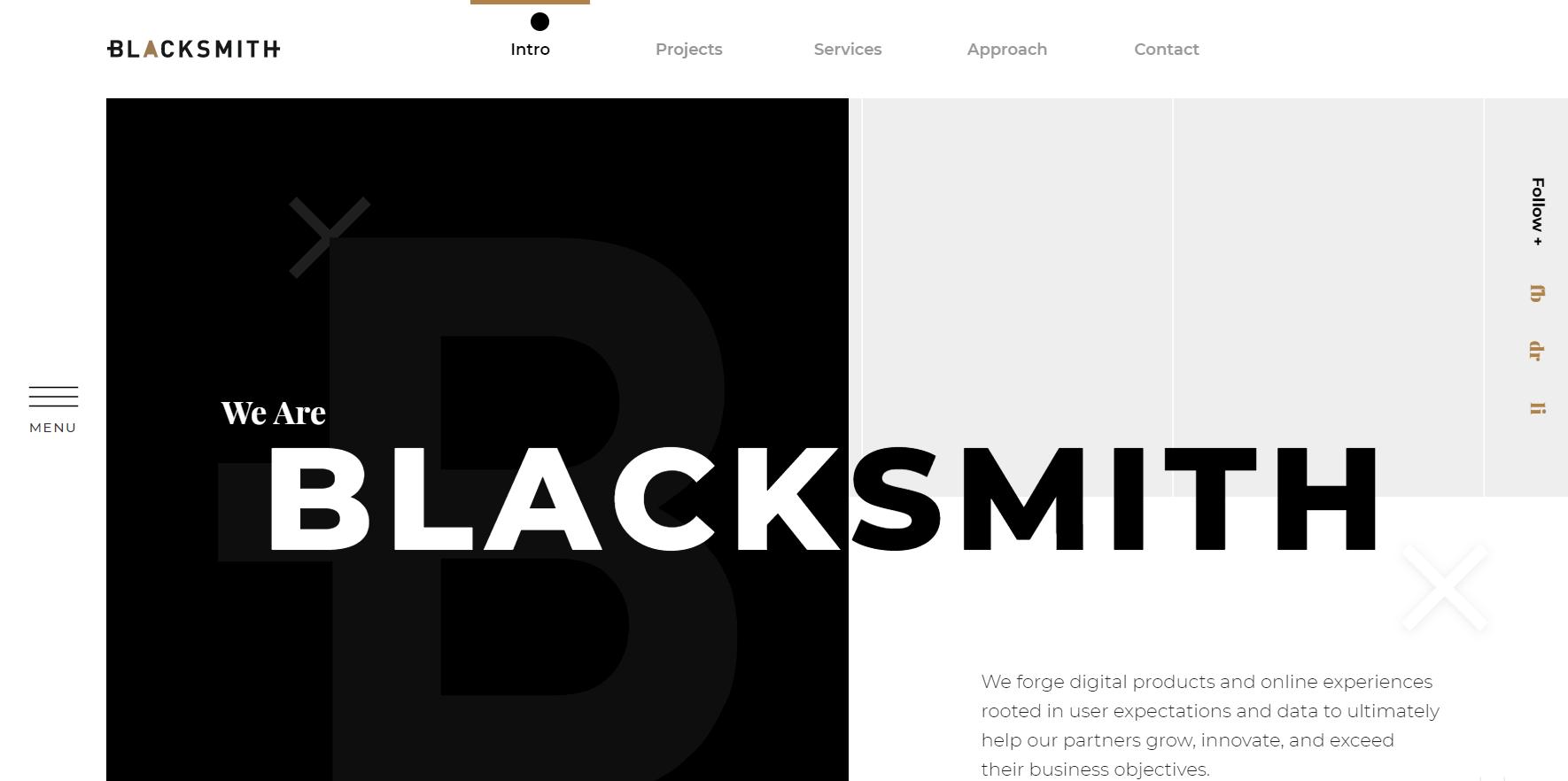 blacksmith marketing agency landing page